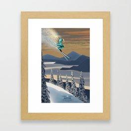 Ski Silver Star Framed Art Print