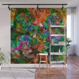 Bright green stars from foil on orange shards of glass. Wall Mural