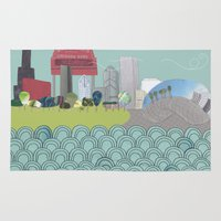 chicago Area & Throw Rugs featuring Chicago by holliejane