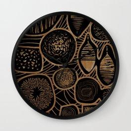 Vintage sepia pattern - linogravure style Wall Clock