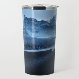 Sveitarfélagið Hornafjörðu,  Blue Ice at the Black Sand Beach, Glacier Lagoon, Iceland Travel Mug