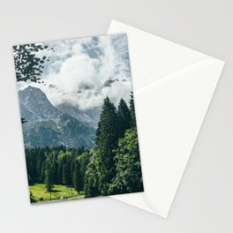 Zugspitze Mountain In Summer Clouds Stationery Cards