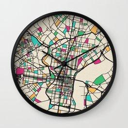 Colorful City Maps: Philadelphia, Pennsylvania Wall Clock