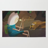 finn Area & Throw Rugs featuring Finn & Jake by modHero