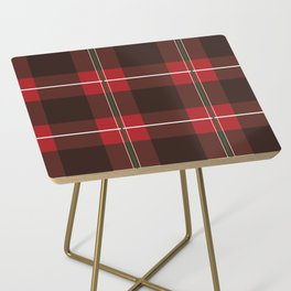 Red, Black and Green Striped Plaid Side Table