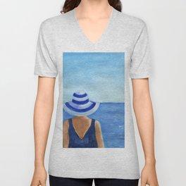 Girl at the sea Unisex V-Neck