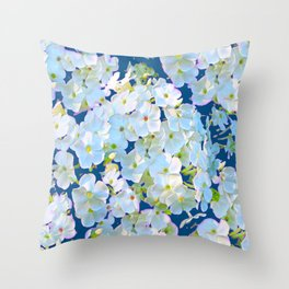 DELICATE TEAL & WHITE LACE FLORAL GARDEN Throw Pillow