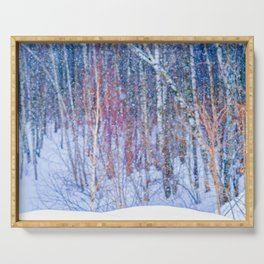 Winter Forest In Pastel Colors Serving Tray