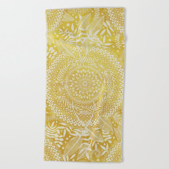 Medallion Pattern in Mustard and Cream Beach Towel