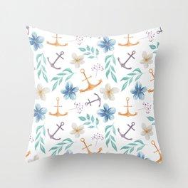 White Vintage Watercolor Anchor Throw Pillow