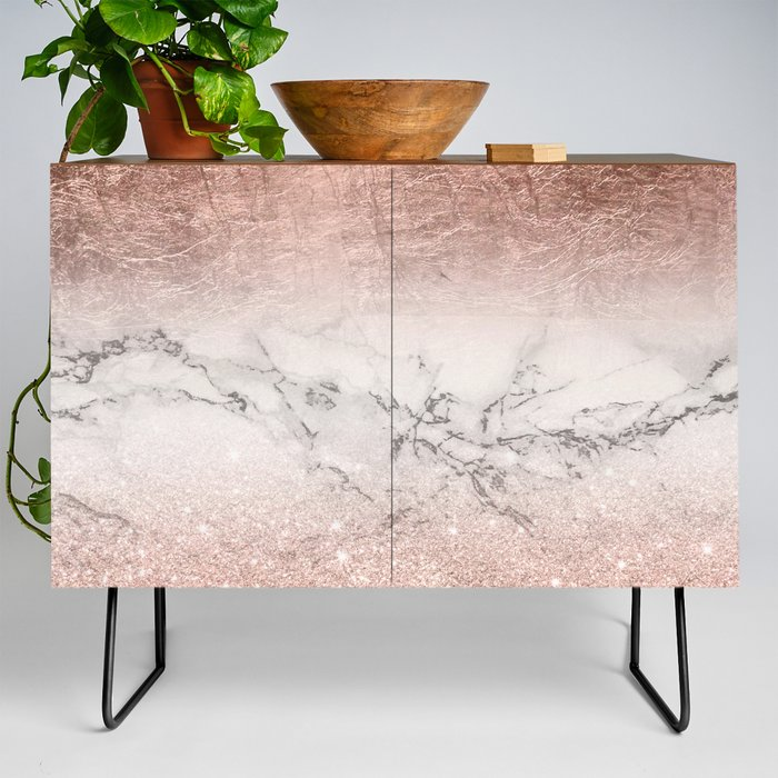 Modern_faux_rose_gold_glitter_and_foil_ombre_gradient_on_white_marble_color_block_Credenza_by_Girly_Trend__Black__Walnut