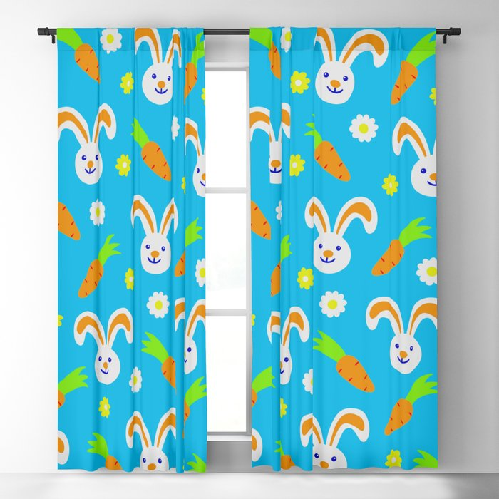 Easter Bunny and Carrots Pattern Blackout Curtain
