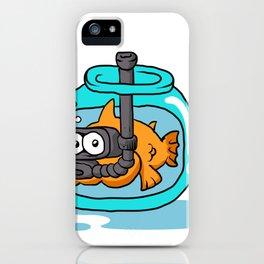 fish with snorkel in the aquarium iPhone Case
