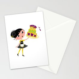 New vintage hand-drawn Art. Baking girl Stationery Cards