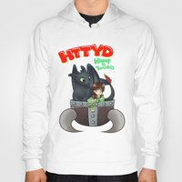 hiccup Hoodies featuring Hiccup and Toothless in a Helmet by snowrunt