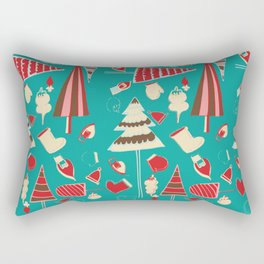 Vintage Christmas Teal Rectangular Pillow