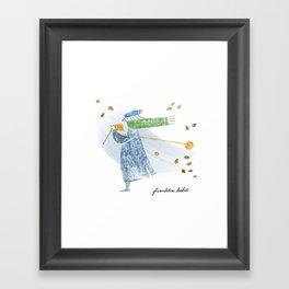 Autumn Knitter Framed Art Print