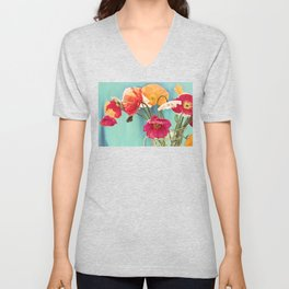Bright Dancers - Vintage toned poppy flower still life Unisex V-Neck