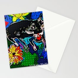 My Dog Among The Flowers Stationery Cards