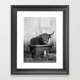 Highland Cow in the Tub Framed Art Print