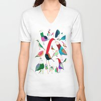 birds V-neck T-shirts featuring  Birds by Ashley Percival illustration