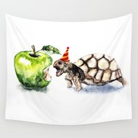 turtle Wall Tapestries featuring Turtle by Anna Shell
