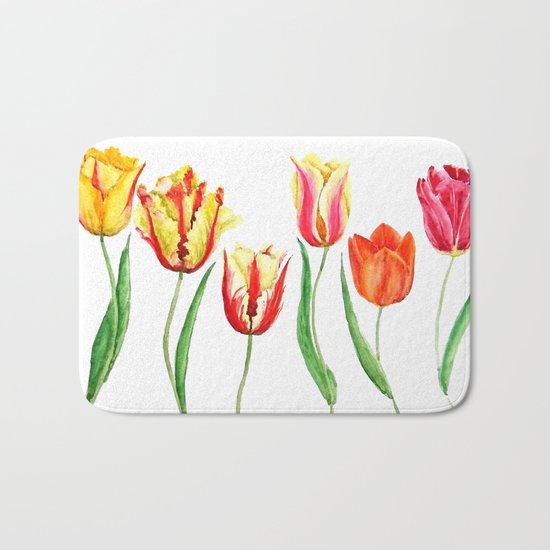 colorful tulips Bath Mat