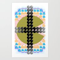 pacman Art Prints featuring PacMan  by Freckled King