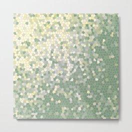 Yellow and Sage Green Mosaic Pattern Metal Print