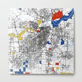 Kansas city mondrian map Metal Print
