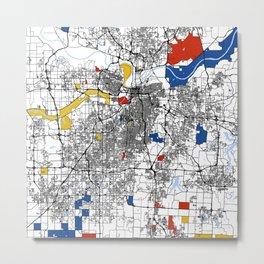 Kansas city mondrian map Metal Print