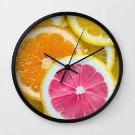 Orange, Pink & Yellow Fruit Slices Wall Clock
