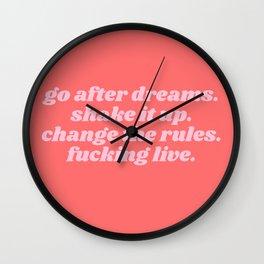 go after dreams Wall Clock