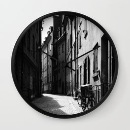 Old narrow street in Stockholm Wall Clock