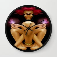 tinker bell Wall Clocks featuring Tinker Fairy  by Rafael Salazar