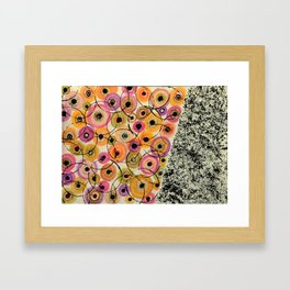 Circles and Flowers- Yellow Framed Art Print