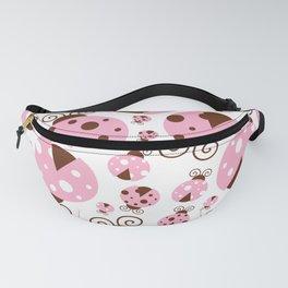 Ladybugs (Ladybirds, Lady Beetles) - Pink Brown Fanny Pack