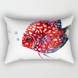Scarlet Red Discus Rectangular Pillow
