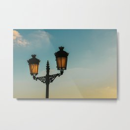 Lattern Light at beach | colorful blue and orange sky in Ibiza | abstract travel photography art print Metal Print