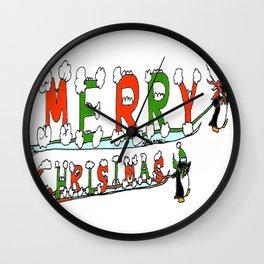 """Merry Christmas Penguins"" Wall Clock"