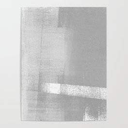 Grey and White Geometric Abstract Poster