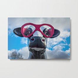 Roadside Fiberglass Cow with Pink Sunglasses Metal Print