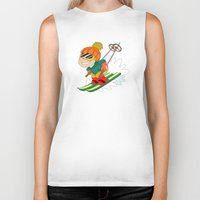 skiing Biker Tanks featuring Winter Sports: Skiing by Alapapaju