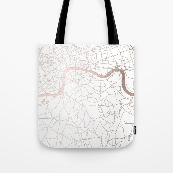 White on Rosegold London Street Map Tote Bag