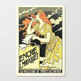 Marquet ink, art nouveau ad by Grasset Canvas Print