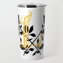 Locust Tattoo roses and L monogram by Sarah de Azevedo Travel Mug