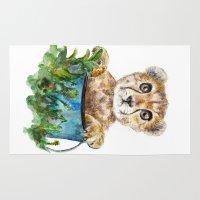 cheetah Area & Throw Rugs featuring cheetah by Anna Shell