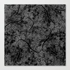 Tree Repeat Black Canvas Print