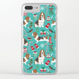 Basset Hound christmas pattern print pet friendly dog breed art for holiday decor Clear iPhone Case