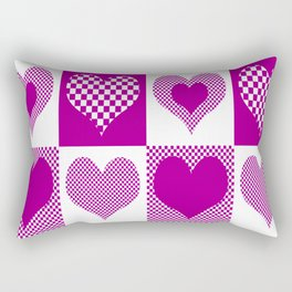 Pink Hearts and Checkers Rectangular Pillow